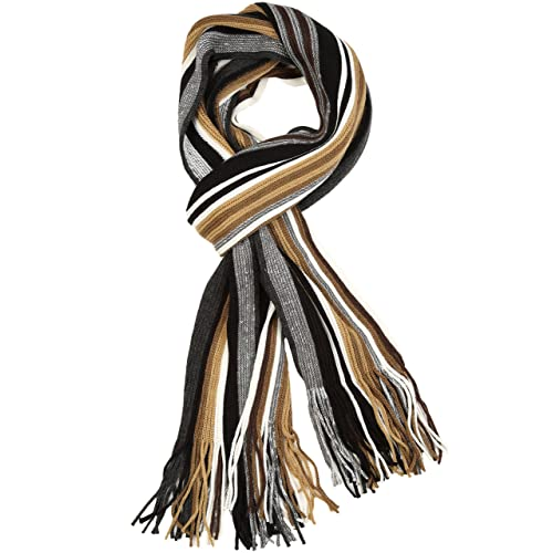 1cb502c0f Sakkas Rhyland Striped Color Block Knitted Winter Scarf With Fringe