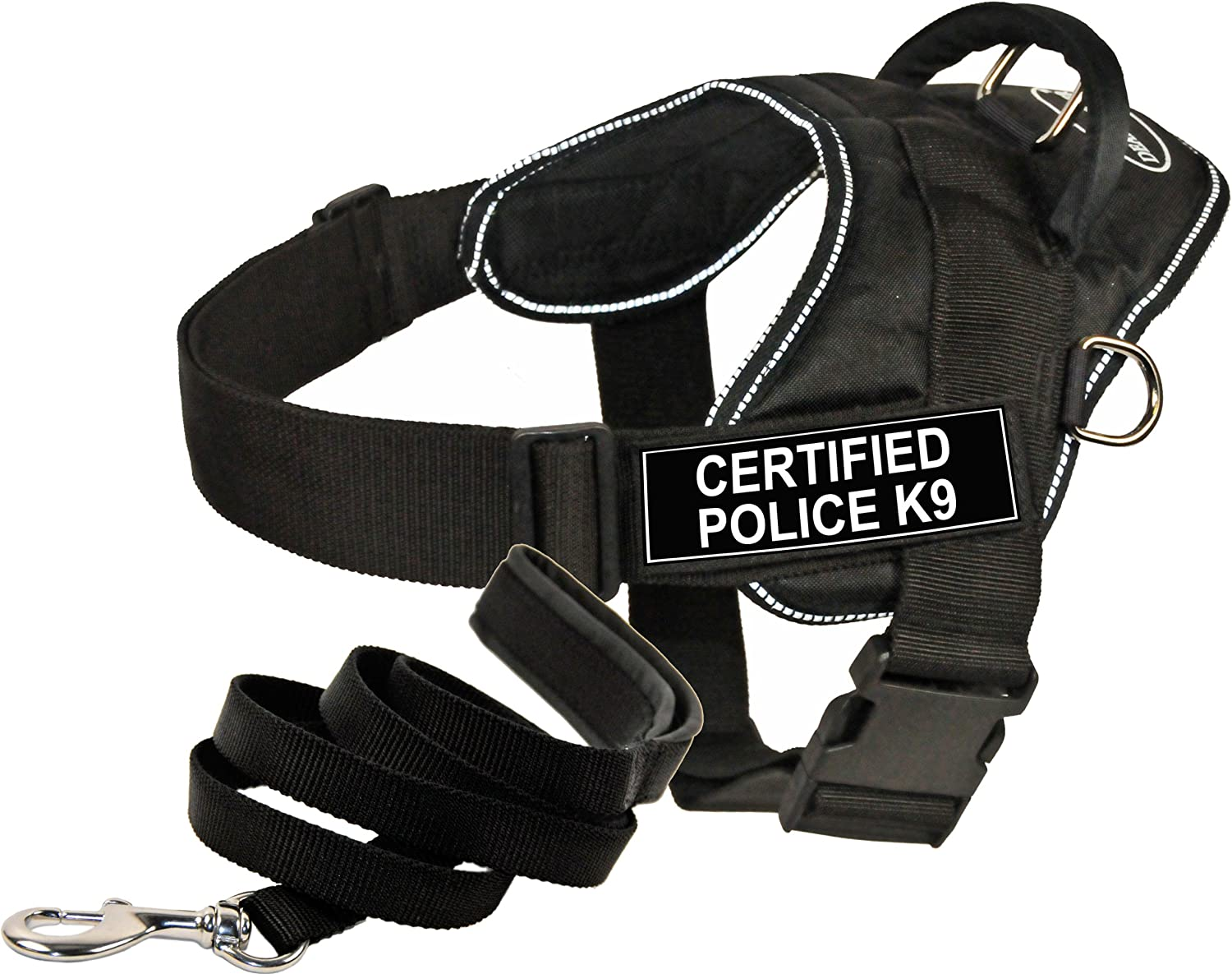 Dean and Tyler Bundle  One DT Fun Works  Harness, Certified Police K9, Reflective, XSmall + One Padded Puppy  Leash, 6 FT Stainless Snap  Black