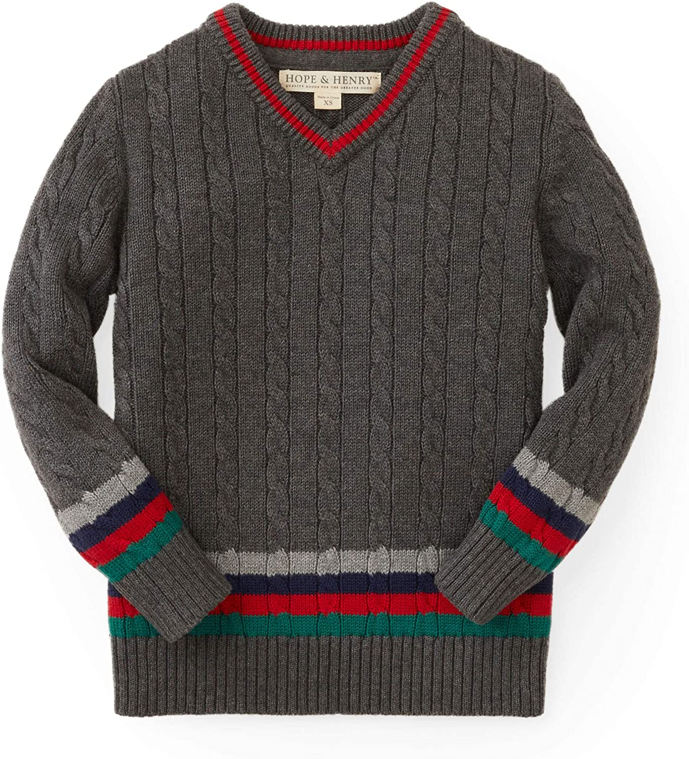 Hope & Henry Boys' Cable V-Neck Sweater