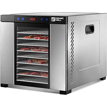 Magic Mill Food Dehydrator Machine | 11 Stainless Steel Trays | Adjustable Timer and Temperature Control | Jerky, Herb, Meat, Beef, Fruits and Vegetables Dryer | Safety Over Heat Protection
