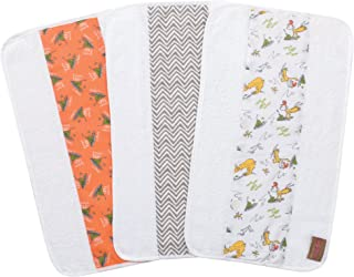 Trend Lab Dr. Seuss by Green Eggs and Ham 3 Pack Jumbo Burp Cloth Set, Orange/Green Yellow/Gray/White