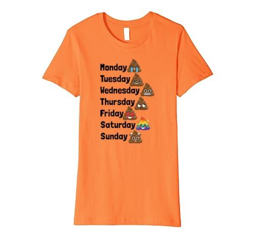 116c6c7933 Emoji Poop Days of the Week Funny School Work Cute T Shirt: Amazon.co.uk:  Clothing
