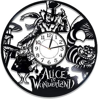 Kovides Alice in Wonderlan Vinyl Clock 12 Inch for Kids Movie Original Home Decor Mad Hatter Vinyl Record Clock Walt Disney Handmade Clock Alice in Wonderlan Birthday Gift Idea for Boy