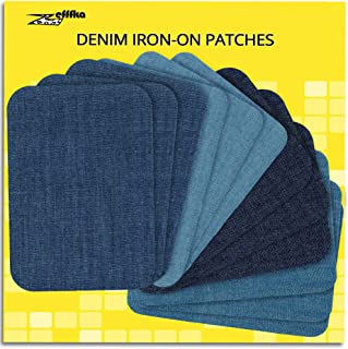 "ZEFFFKA Premium Quality Denim Iron-on Jean Patches Inside & Outside Strongest Glue 100% Cotton Assorted Shades of Blue Repair Decorating Kit 12 Pieces Size 3"" by 4-1/4"" (7.5 cm x 10.5 cm)"