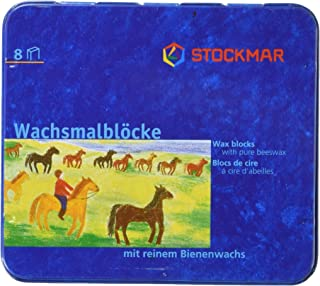 Stockmar Beeswax Block Crayons,8 Assorted Waldorf Colors in Tin