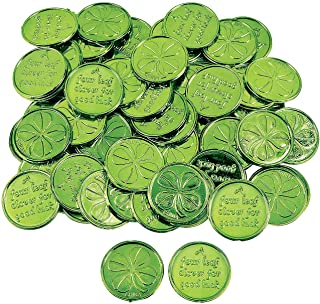 Fun Express Plastic 4-Leaf Clover Good Luck Coins for St. Patrick`s Day (144 Coins) Party Favors & Decorations, Novelty Party Supplies