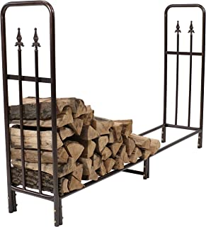 Sunnydaze 6-Foot Firewood Log Rack, Indoor/Outdoor Decorative Wood Storage Holder for Fireplace, Bronze