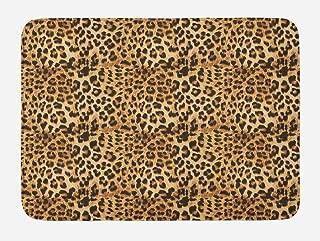 Ambesonne Brown Bath Mat, Leopard Print Animal Skin Digital Printed Wild Safari Themed Spotted Pattern Art, Plush Bathroom Decor Mat with Non Slip Backing, 29.5
