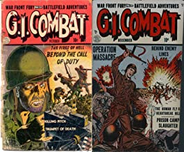 GI Combat. Issues 1 and 2. War front fury, battlefield adventures. The fires of hell, killing pitch, trumpet of death, human fly, prison camp and more. Golden Age Digital Comics Military and War.