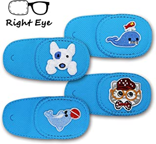 Astropic 4Pcs Eye Patches for Kids Girls Boys Eye Patch for Glasses Medical Patches for Adults Children with Lazy Eye Amblyopia Strabismus and After Eye Surgery (Right Eye, Blue)