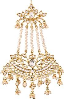 I Jewels Gold Plated Kundan & Pearl Pasa/Hair Kalank Inspired Jewellery for Women (T2464W)