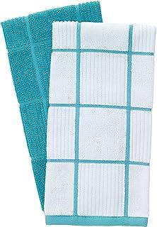 T-Fal Textiles 60967 2-Pack Solid & Check Parquet Design 100-Percent Cotton Kitchen Dish Towel, Breeze, Solid/Check-2 Pack