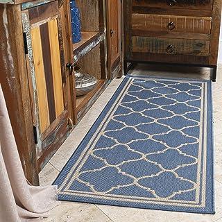 """Ottomanson Jardin Indoor/Outdoor Runner Rug, 2'7""""X7', Blue Moroccan Trellis"""