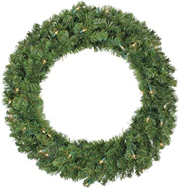 """Northlight 36"""" Pre-Lit Canadian Pine Artificial Christmas Wreath - Clear Lights"""