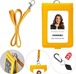 PU Leather Lanyard with Detachable Bifold Wallet with 2 ID Badge Holder Windows & 3 Card Pockets. Carabiner Keychain Flashlight with Key Ring. 17.5'' PU Leather Neck Strap. Yellow Color.