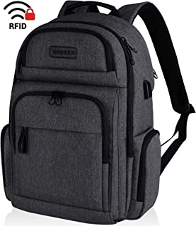 KROSER Travel Laptop Backpack Stylish 15.6 Inch Computer Backpack with Hard Shell Saferoom Water-Repellent Sturdy School Daypack with RFID Pockets for Work/Business/College/Men/Women-Charcoal Black