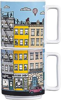 Yes Studio YAY005 Heat Changing Stacking Mugs-City Ceramic Novelty