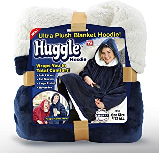 Ontel Huggle Hoodie - Hooded Robe Sweatshirt, Blue - As Seen on TV