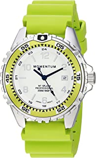 Momentum Women's Quartz Stainless Steel and Rubber Diving Watch, Color:Green (Model: 1M-DN11LL1L)