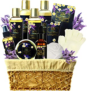 Lavender Chamomile Natural Spa Gift Basket, Lavender Aromatherapy Luxurious Bath and Body Gift Set 8 Piece Home Spa Kit. B...