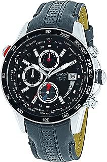 AVIATOR AVW8974G76 Men's Pilot Aviation Chronograph Quartz Watch Black Leather Strap Analog Wristwatch