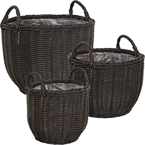 discount Sunnydaze Round Short Dark Brown Polyrattan Indoor Basket Planters with Handles - Set of 3- Modern Decorative 2021 Standing Containers - Features an Attached Clear Protective Plastic wholesale Liner outlet online sale