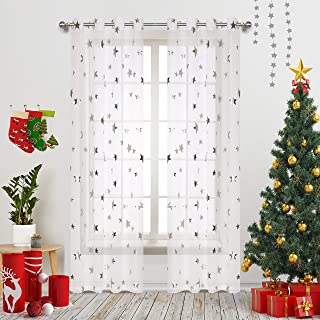 Grommet Top Sheer Curtains for Space Theme Bedroom Silver Star Print Window Panels with Solid Transparent Voile Base Perfect for Kids and Living Room 54 inch Wide by 84 inch Long 1 Pair