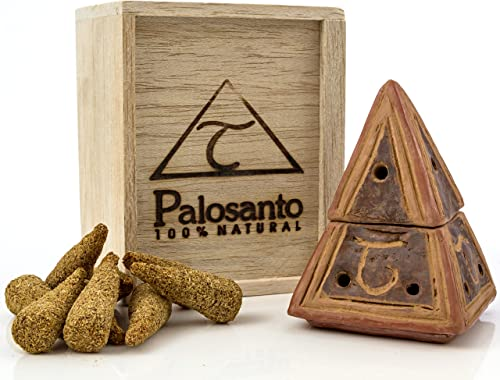 wholesale Premium Bundle outlet sale of Palo Santo Cones with Brown Ceramic Pyramid online Burner. Use for Home Fragrance, Energy Clearing, Yoga, Meditation outlet sale