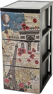 Iris Ohyama, Armoire de rangement design 3 tiroirs - Style Chest - SCF-303,plastique, thème Paris vintage, 45 L, 29 x 39 x...