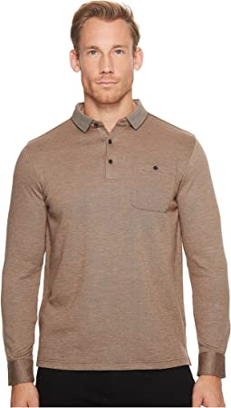 Long Sleeve Three-Button Polo Collar Fancy Knit w/ Cuff Pocket