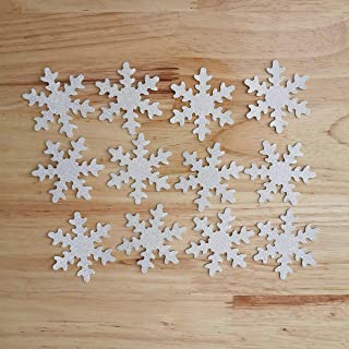 Double Sided Silver Glitter Decorative Frozen Winter Snowflake Party Table Decor Confetti Pack of 50