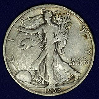 1935 Walking Liberty 90% Silver Half Dollar Grades Fine to XF with Full Rim Date and Motto US Mint