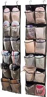 KIMBORA Over Door Organizer Hanging Shoe Storage for Narrow Closet Door,2 Pack 12 Large Mesh Pockets