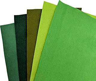 Green Wool Felt 5 Piece Multi-Pack for Crafting - 35% Wool Blend - 5 12x18 inch Sheets