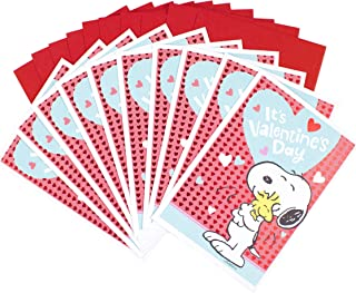 Hallmark Peanuts Valentines Day Cards Pack, Snoopy and Woodstock (10 Valentine's Day Cards with Envelopes)
