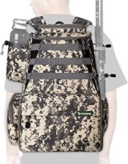Rodeel Fishing Tackle Backpack 2 Fishing Rod Holders with/Without 4 Tackle Boxes, Large Storage,Backpack for Trout Fishing...