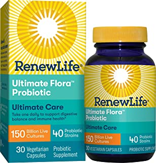 Renew Life Adult Probiotic - Ultimate Flora Ultimate Care Probiotic Supplement - Gluten, Dairy & Soy Free - 150 Billion CFU - 30 Vegetarian Capsules