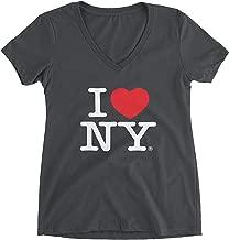 I Love NY Charcoal V-Neck T-Shirt Spandex Ladies Heart New York Womens Tee
