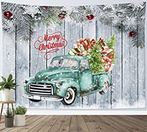 HVEST Christmas Tapestry Wall Hanging Green Tree and Gifts in Truck with Xmas Balls on Rustic Planks Tapestries Wall Decor Winter Tapestry for Bedroom Living Room Dorm Holiday Party, 60x40 inch