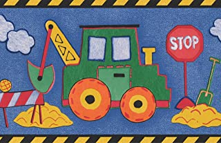 Tractor Excavator Truck Blue Wallpaper Border for Kids, Roll 15' x 6''