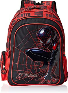 "Marvel Boys School Bags, Multi - TRBT929B,Black/Red 16"" Back Pack"