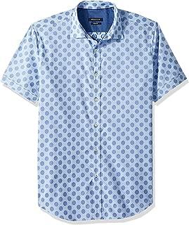Bugatchi Men's Non-Iron Cut Dobby Cotton Shaped Fit Short Sleeve Shirt