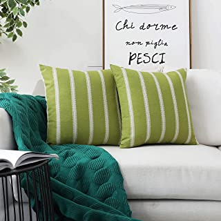 Home Brilliant 2 Pack Modern Farmhouse Decorative Throw Pillow Covers Classic Country Cushion Covers for Sofa Couch Bench Outdoor, 18 x 18 inches(45x45cm), Lime Grass
