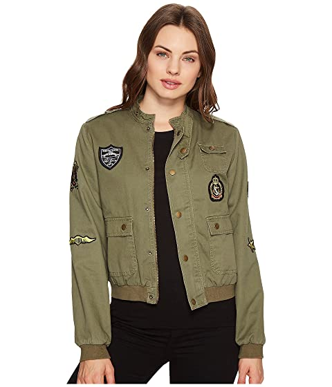 ROMEO & JULIET COUTURE Button Up Jacket With Patches, Olive