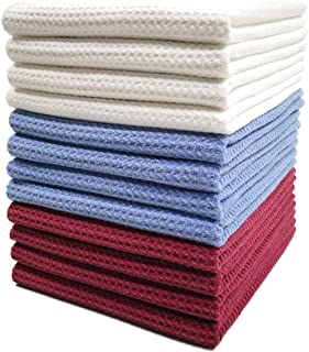 Polyte Premium Microfiber Kitchen Dish Hand Towel Waffle Weave (Blue, Red, White, 16x28) 12 Pack