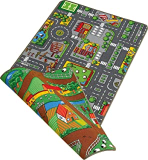 Duo Play 100x 190A4Reversible de alfombra de juegos, City o Farm
