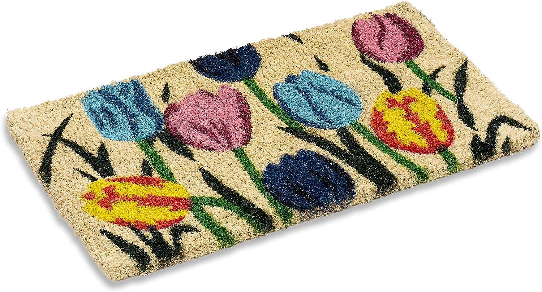 Amazon Com Natural Multi Tulip Design Indoor Outdoor Woven Coir Mat 18 By 30 By 1 Inch Front Door Welcome Mat For Entryways Welcome Doormat Garden Outdoor