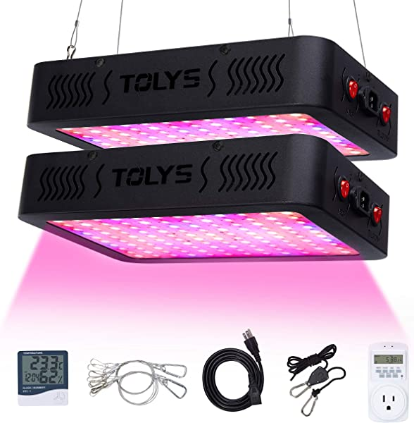 1200W Plant Light TOLYS 2 Packs LED Grow Light Double Chips Full Spectrum Grow Lamping For Indoor Plants Veg And Flower With Thermometer Humidity Monitor And Timer Black
