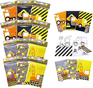 Tiny Mills Construction Trucks Coloring Book with Crayons Party Favors, 12 Pack