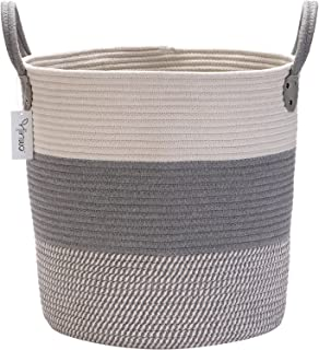 Hinwo Panier de Rangement en Corde de Coton Panier à Linge Pliable Organisateur de conteneur de Rangement pour Maternelle ...